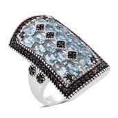 Marambaia Topaz, Thai Black Spinel Platinum Over Sterling Silver Elongated Ring (Size 5.0) TGW 5.90 cts.