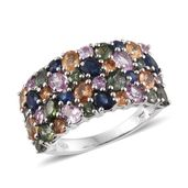 Multi Sapphire Platinum Over Sterling Silver Cluster Ring (Size 9.0) TGW 6.130 cts.