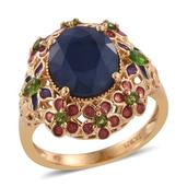 GP Kanchanaburi Blue Sapphire, Russian Diopside 14K YG Over Sterling Silver Ring (Size 5.0) TGW 6.23 cts.