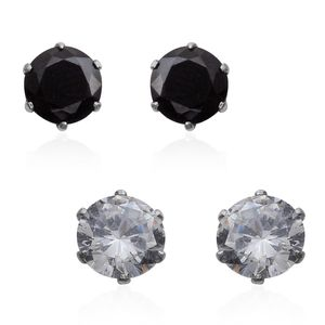 Simulated Black and White Diamond Stainless Steel Set of 2 Stud Earrings TGW 5.720 Cts.