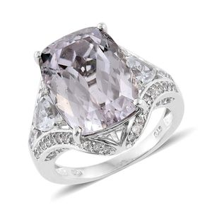 Urukun Kunzite, White Topaz Platinum Over Sterling Silver Ring (Size 7.0) TGW 15.240 cts.