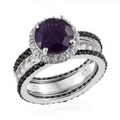Lusaka Amethyst, Thai Black Spinel, White Topaz Platinum Over Sterling Silver Stackable Ring (Size 8.0) TGW 6.37 cts.