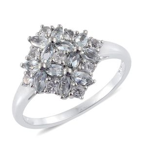 Espirito Santo Aquamarine, White Topaz Platinum Over Sterling Silver Ring (Size 7.0) TGW 1.48 cts.