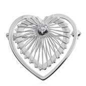 Simulated Diamond Sterling Silver Heart Brooch TGW 0.430 Cts.