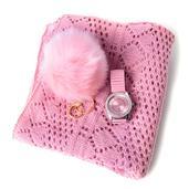 Pink Diamond Pattern 100% Acrylic Kimono (35.5x18.5 in), Pom Pom Goldtone Keychain and STRADA White Austrian Crystal Japanese Movement Watch  Total Gem Stone Weight 2.705 Carat