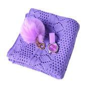 Purple Diamond Pattern 100% Acrylic Kimono (35.5x18.5 in), Pom Pom Goldtone Keychain and STRADA White Austrian Crystal Japanese Movement Watch  Total Gem Stone Weight 2.700 Carat