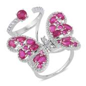 Niassa Ruby, White Zircon Sterling Silver Double Band Flying Butterfly Knuckle Ring (Size 8.0) TGW 6.37 cts.