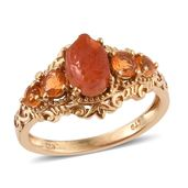 Rough Cut Salamanca Fire Opal, Jalisco Fire Opal 14K YG Over Sterling Silver Ring (Size 5.0) TGW 1.90 cts.