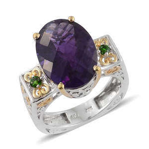 Lusaka Amethyst, Russian Diopside 14K YG and Platinum Over Sterling Silver Ring (Size 9.0) TGW 11.030 cts.