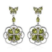 Arizona Peridot Platinum Over Sterling Silver Dangle Earrings TGW 9.44 cts.