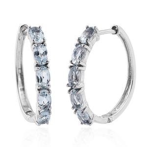 Espirito Santo Aquamarine Platinum Over Sterling Silver Huggie Hoop Earrings TGW 2.30 cts.