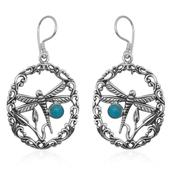 Bali Legacy Collection Arizona Sleeping Beauty Turquoise Sterling Silver Dragonfly Earrings TGW 0.820 Cts.