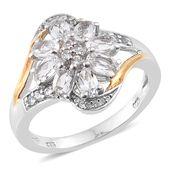 Brazilian Goshenite, Cambodian Zircon 14K YG and Platinum Over Sterling Silver Split Ring (Size 6.0) TGW 1.71 cts.