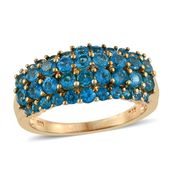 Malgache Neon Apatite 14K YG Over Sterling Silver Cluster Ring (Size 8.0) TGW 2.68 cts.