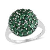 Kagem Zambian Emerald Platinum Over Sterling Silver Ring (Size 9.0) TGW 4.080 cts.