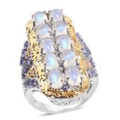 Sri Lankan Rainbow Moonstone, Tanzanite 14K YG and Platinum Over Sterling Silver Elongated Ring (Size 7.0) TGW 12.82 cts.