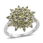 Arizona Peridot Platinum Over Sterling Silver Split Ring (Size 6.0) TGW 2.77 cts.