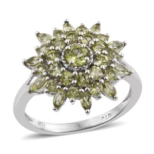 Arizona Peridot Platinum Over Sterling Silver Split Ring (Size 5.0) TGW 2.77 cts.