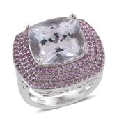 Urukun Kunzite, Madagascar Pink Sapphire Platinum Over Sterling Silver Ring (Size 8.0) TGW 15.45 cts.