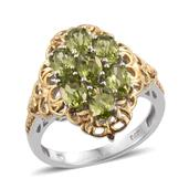 Arizona Peridot 14K YG and Platinum Over Sterling Silver Ring (Size 9.0) TGW 3.560 cts.