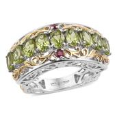 Arizona Peridot, Ruby 14K YG and Platinum Over Sterling Silver Euro Style Ring (Size 9.0) TGW 4.82 cts.