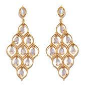 Sri Lankan Rainbow Moonstone 14K YG Over Sterling Silver Enlarge Dangle Earrings TGW 11.10 cts.