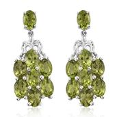 Arizona Peridot Platinum Over Sterling Silver Dangle Earrings TGW 13.86 cts.