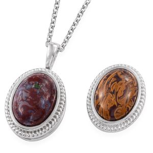 KARIS Collection - Set of 2 Redlighting Jasper, Indian Script Stone Platinum Bond Brass Interchangeable Magnetic Pendants With Stainless Steel Chain (20 in) TGW 12.30 cts.
