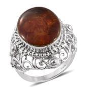Jalisco Fire Opal Silvertone Statement Ring (Size 7.0) TGW 5.00 cts.
