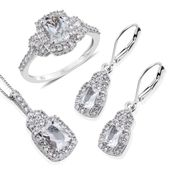 Brazilian Goshenite, White Zircon Platinum Over Sterling Silver Lever Back Earrings, Ring (Size 6) and Pendant With Chain (20 in) TGW 5.760 cts.