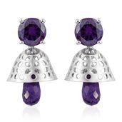 KARIS Collection - Simulated Purple Diamond, Amethyst Platinum Bond Brass Pierced Dangle Earrings TGW 11.08 cts.