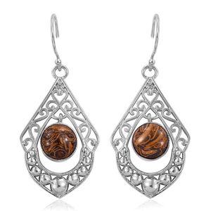 Indian Script Stone Platinum Bond Brass Dangle Earrings TGW 8.46 cts.
