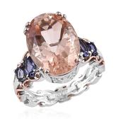 Morganique Quartz, Catalina Iolite 14K RG and Platinum Over Sterling Silver Ring (Size 11.0) TGW 13.130 cts.