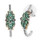 Boyaca Colombian Emerald, Madagascar Pink Sapphire 14K YG and Platinum Over Sterling Silver J-Hoop Earrings TGW 1.42 cts.