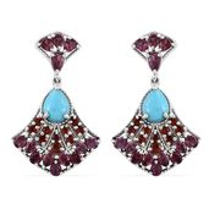 Arizona Sleeping Beauty Turquoise, Orissa Rhodolite Garnet, Jalisco Cherry Fire Opal Platinum Over Sterling Silver Dangle Earrings TGW 8.70 cts.