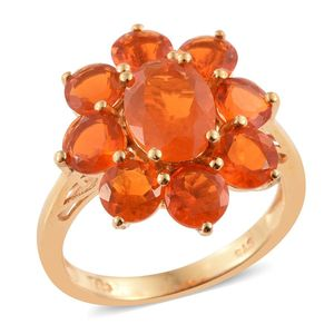 Salamanca Fire Opal 14K YG Over Sterling Silver Ring (Size 7.0) TGW 4.400 cts.