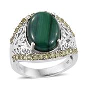 African Malachite, Hebei Peridot Platinum Over Sterling Silver Ring (Size 9.0) TGW 14.20 cts.