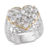 Brazilian Goshenite 14K YG and Platinum Over Sterling Silver Heart Ring (Size 6.0) TGW 3.650 cts.