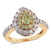 Ambanja Demantoid Garnet, Cambodian Zircon 14K YG Over Sterling Silver Ring (Size 7.0) TGW 2.570 cts.