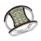 Ambanja Demantoid Garnet, Thai Black Spinel Platinum Over Sterling Silver Open Band Ring (Size 7.0) TGW 2.660 cts.