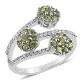 Ambanja Demantoid Garnet, Cambodian Zircon Platinum Over Sterling Silver Ring (Size 10.0) TGW 1.850 cts.