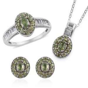 Ambanja Demantoid Garnet, White Topaz Platinum Over Sterling Silver Earrings, Ring (Size 7) and Pendant With Chain (20 in) TGW 4.07 cts.