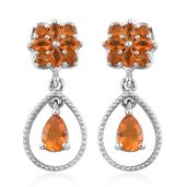 Salamanca Fire Opal Platinum Over Sterling Silver Earrings TGW 1.81 cts.