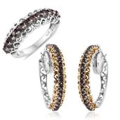 Bekily Color Change Garnet 14K YG and Platinum Over Sterling Silver Hoop Earrings and Ring (Size 8) TGW 4.86 cts.