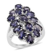 Catalina Iolite Platinum Over Sterling Silver Elongated Ring (Size 7.0) TGW 5.76 cts.