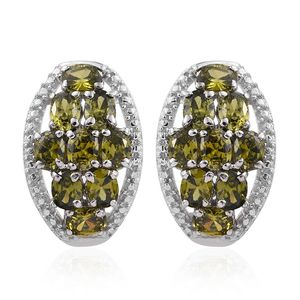 KARIS Collection - Simulated Green Diamond Platinum Bond Brass Earrings TGW 5.06 cts.