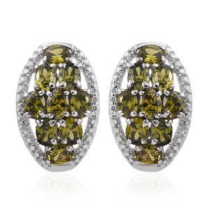 KARIS Collection - Simulated Green Diamond Platinum Bond Brass Earrings TGW 5.06 cts.