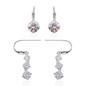 Simulated Diamond Silvertone Set of 2 Ear Threader and Lever Back Earrings TGW 11.000 Cts.