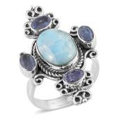 Artisan Crafted Larimar, Rough Cut Tanzanite Sterling Silver Ring (Size 6.0) TGW 9.64 cts.