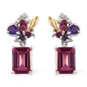 Pure Pink Mystic Topaz, Multi Gemstone 14K YG and Platinum Over Sterling Silver Earrings TGW 4.82 cts.